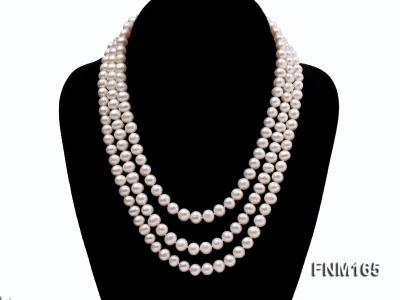 JYX 3-row Round Freshwater Pearl Necklace