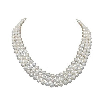 Pearl Pro 3-row White Freshwater Pearl Necklace