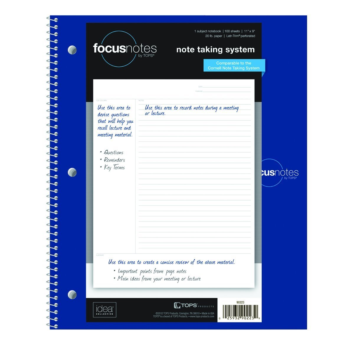 TOPS FocusNotes Note Taking System 1-Subject Notebook