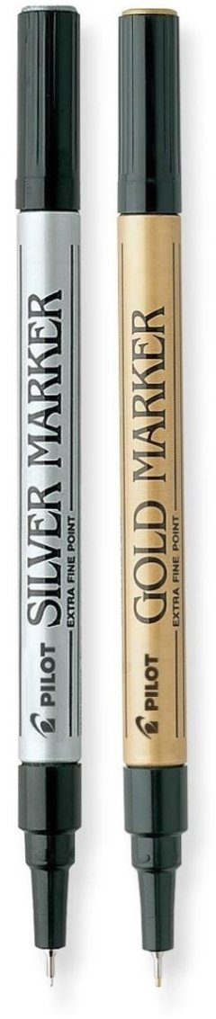 Pilot Gold and Silver Metallic Marker with Extra Fine Point – Available in 2 Pack Sizes and 3 Colors