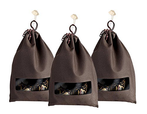 YOMO Designer 3-Pack Brown Canvas Shoe Bag with View Window