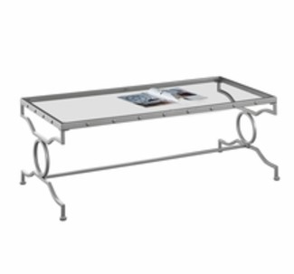Monarch Specialties Coffee Table with a Tempered Glass Top and Silver Finish