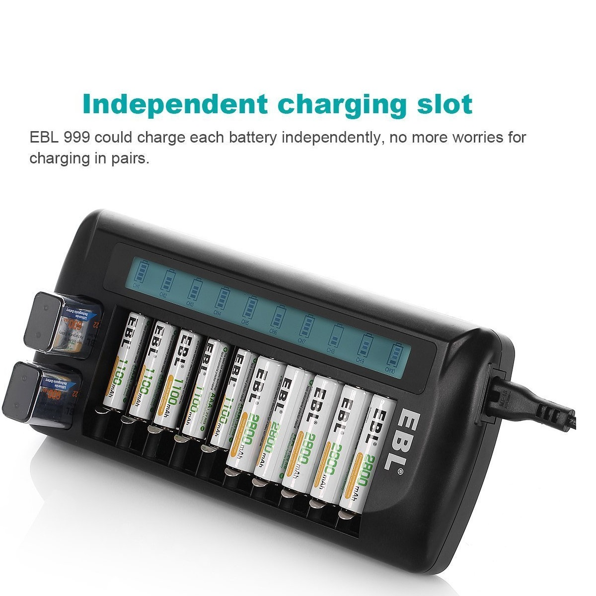 EBL 12-Bay Rechargeable Battery Charger