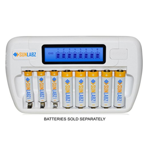 SunLabz Smart Rechargeable Battery Charger for AA, AAA NiMH NiCD Batteries – Available in 3 Sizes