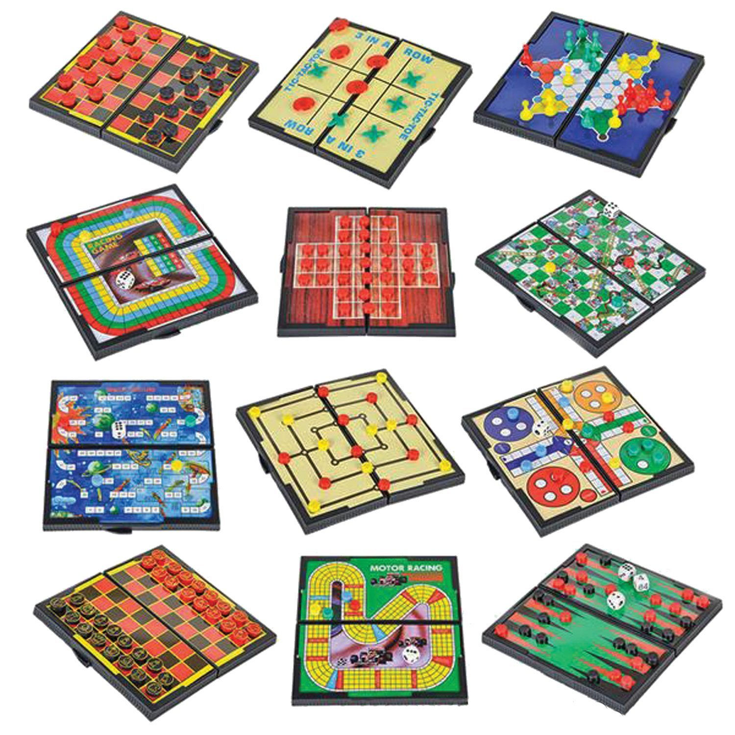 GamieTM Magnetic Board Game Set with 12 Retro Fun Games