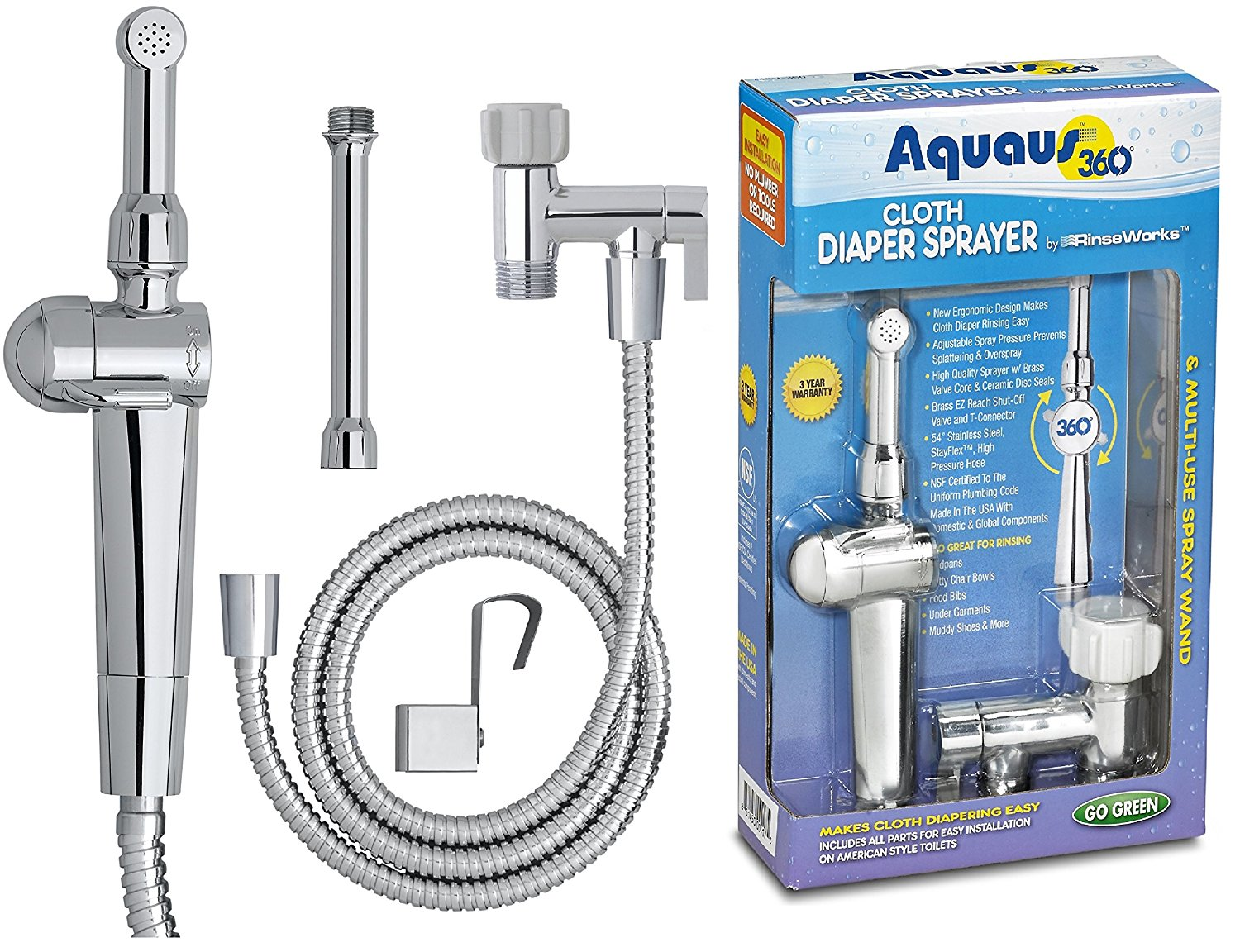RinseWorks Aquaus 360 Diaper Sprayer For Toilet with Dual Thumb Pressure Controls and Ceramic Disk Seals