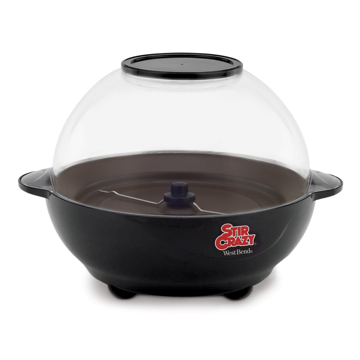West Bend Stir Crazy Popcorn Popper – Motorized Stirring Rod, Non-Stick, Glass Cover