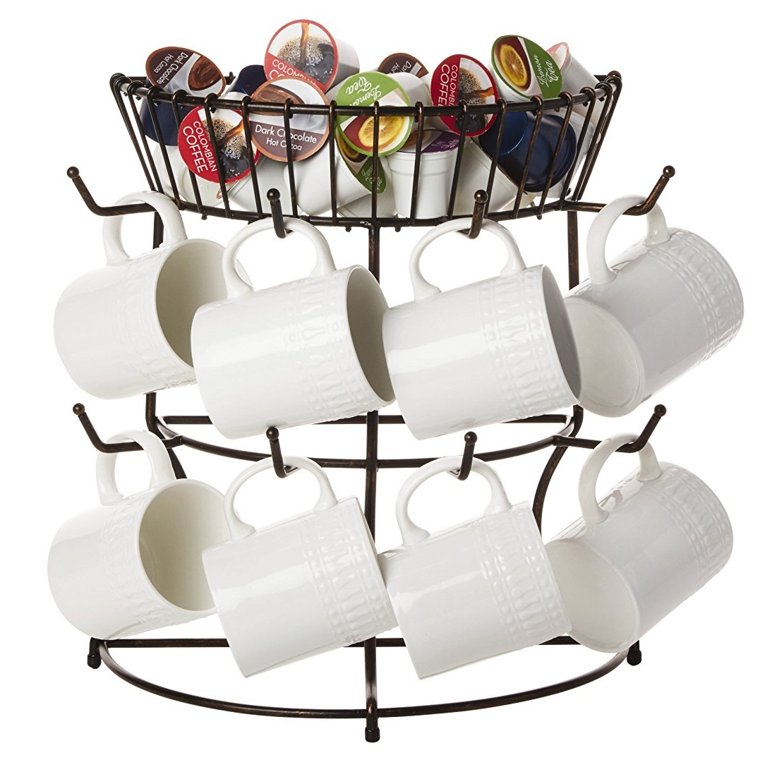 Mikasa Gourmet Basics Marketplace Mug Tree with Basket