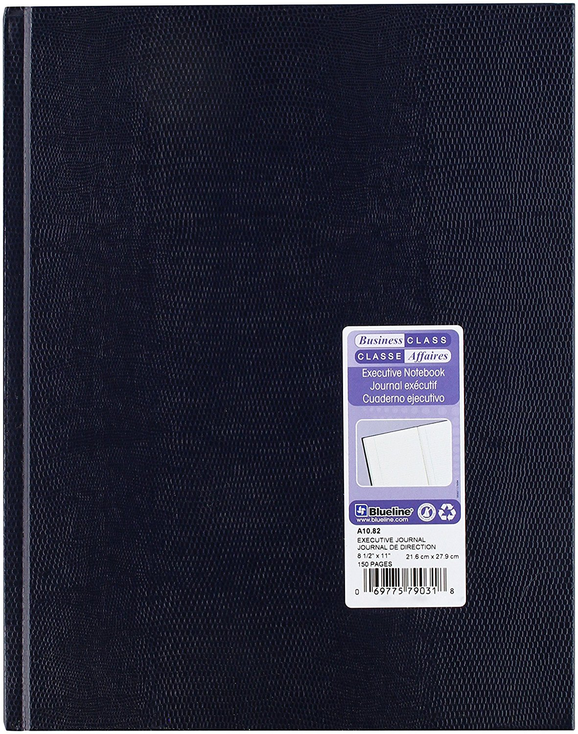 Blueline Executive College Ruled Notebook with Gold Ribbon Bookmark