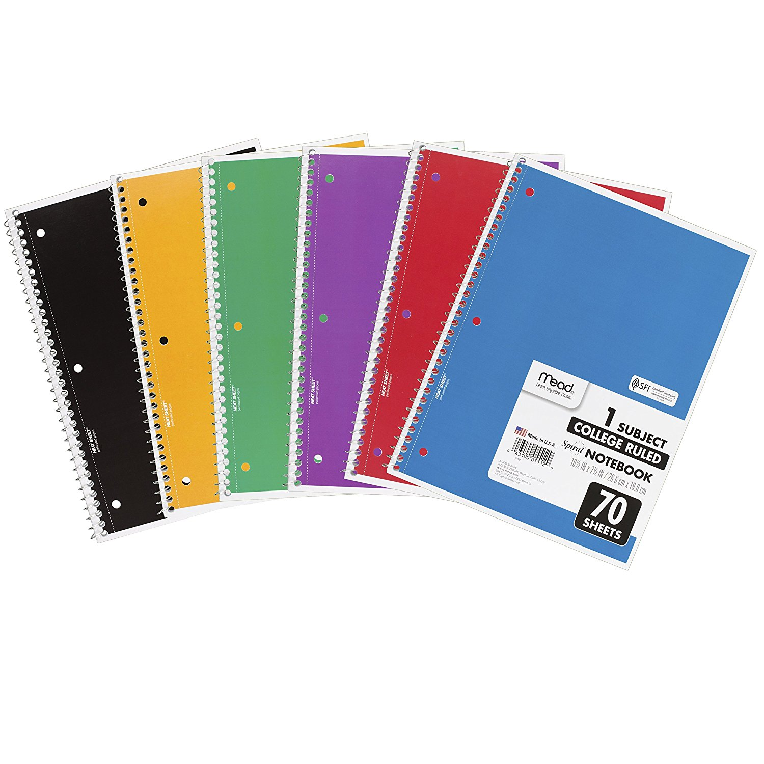 Mead Spiral 1 Subject Notebook