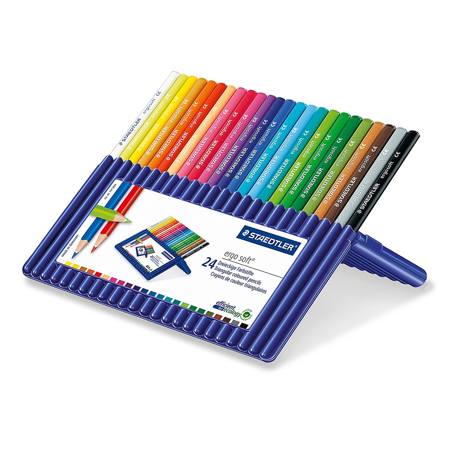 Staedtler Ergosoft Colored Pencils – Set of 24 Colors in Stand-Up Easel Case