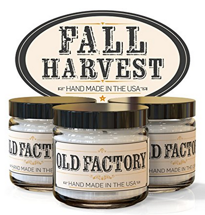 Old Factory Candles 3 Pack Fall Harvest Soy Candles with Cranberry, Pumpkin Spice and Autumn Leaves – Other Scents Available