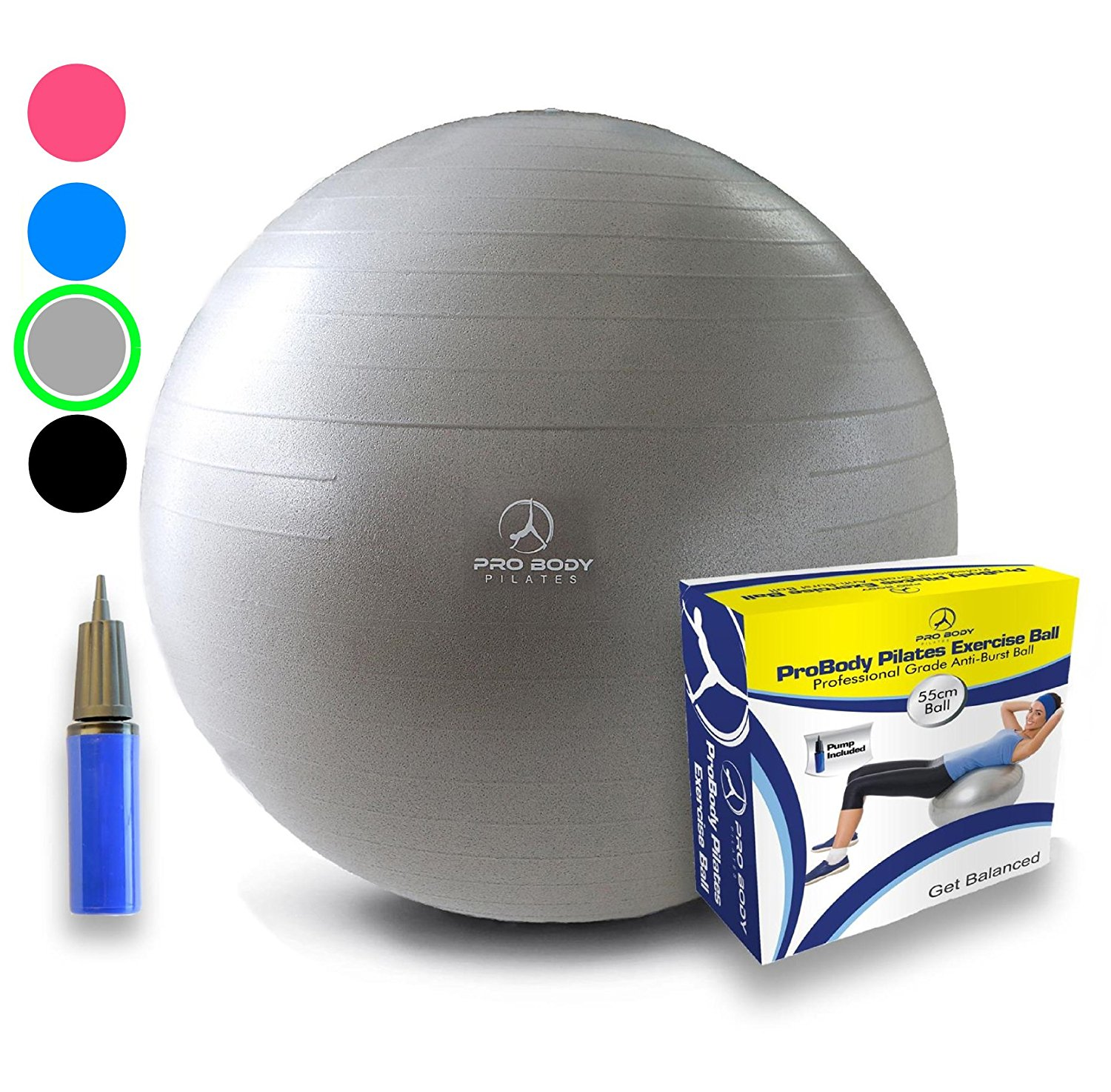 Probody Pilates Professional Grade Anti-burst Exercise Ball with Pump – Available in Several Buying Options & 3 Sizes