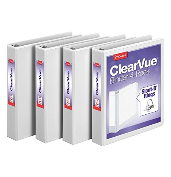 "Cardinal 4-Pack 1.5"" D-Ring Binders"