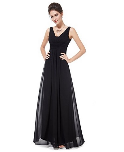 Ever Pretty Black Double V-Neck Evening Dress