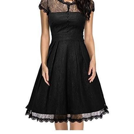 Miusol Black Floral Lace Swing Dress