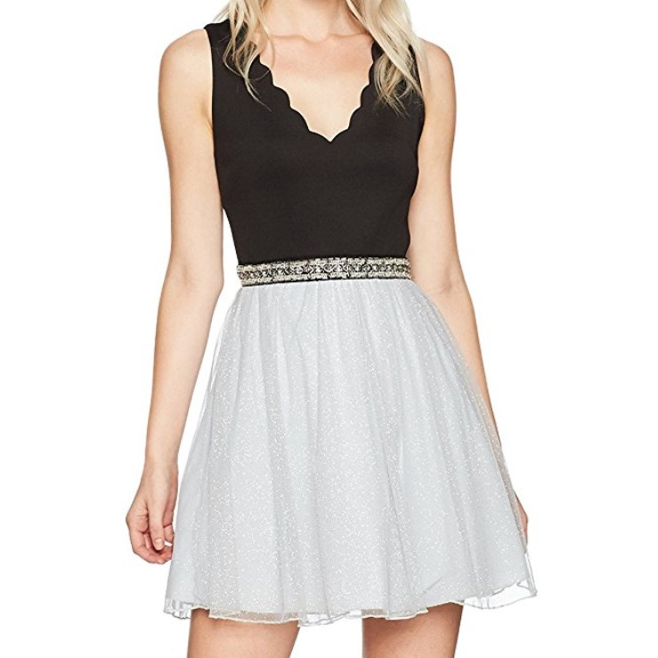 Speechless Sleeveless V Neck Skater Dress