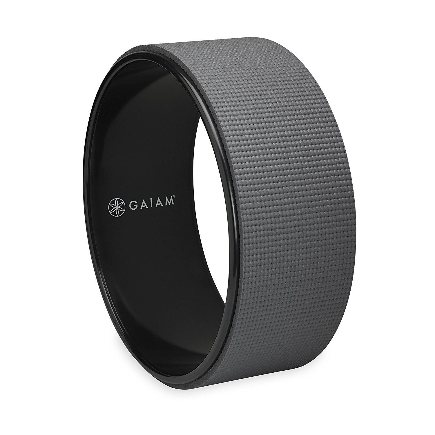 Gaiam 12-Inch Yoga Wheel with PVC Core & 5mm Yoga Mat Padding – Available in Black/Gray or Cork