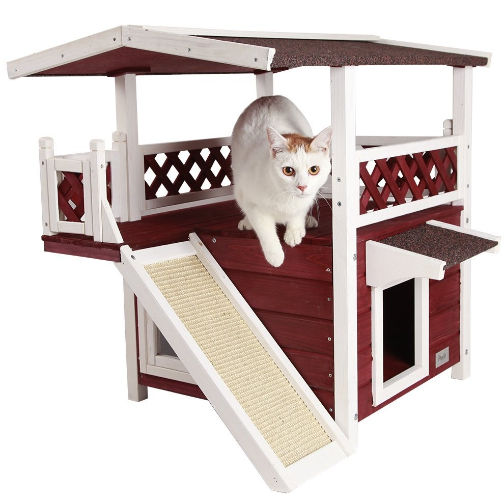 "Petsfit Outdoor Cat House 30"" x 22"" x 29"" Weatherproof – Available in 3 Colors"