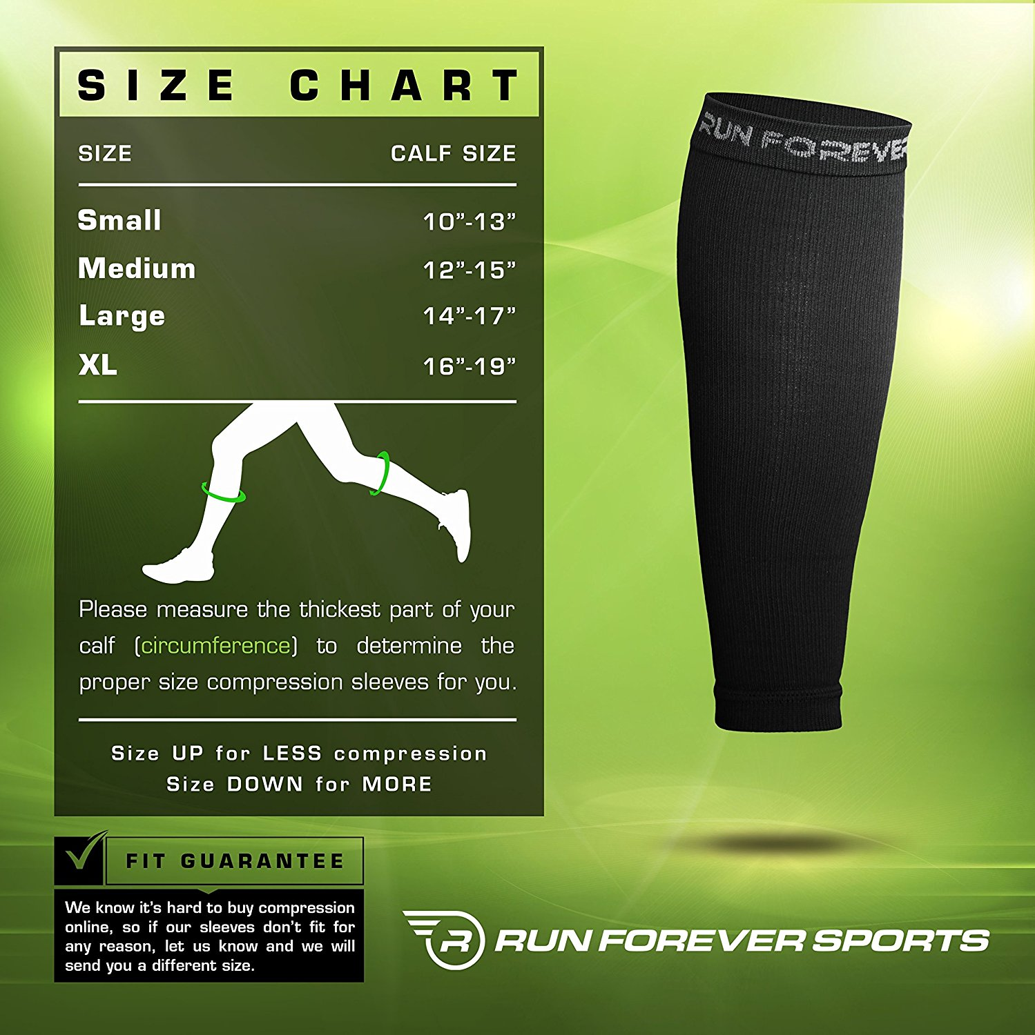 Run Forever Sports Calf Compression Sleeve