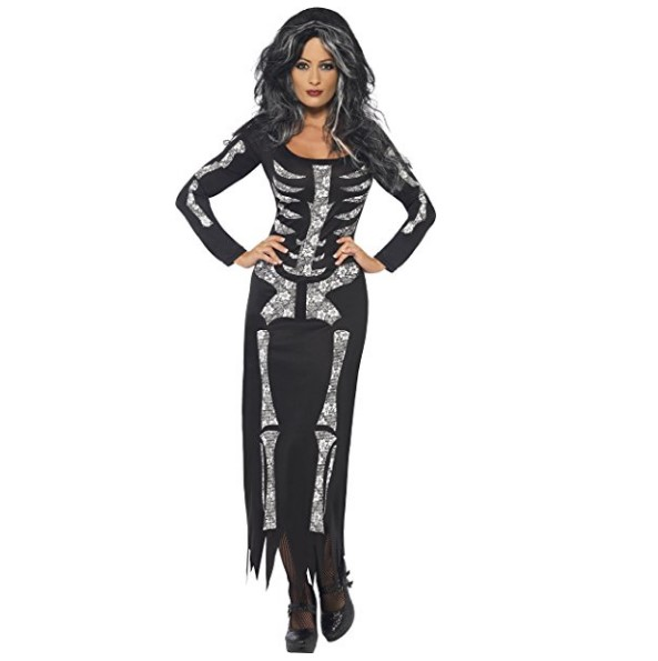 Smiffy's Skeleton Long Sleeved Halloween Dress