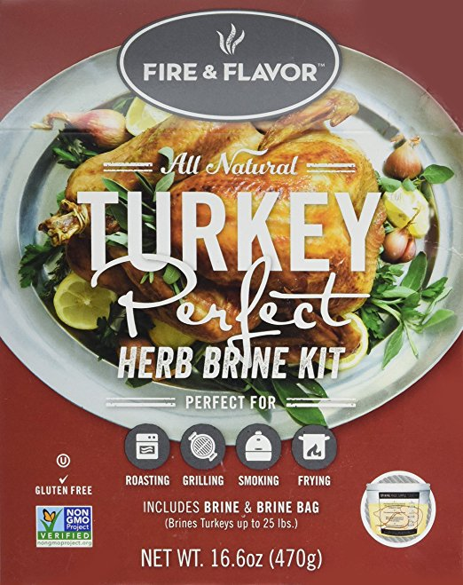 Fire & Flavor All-Natural Turkey Perfect Herb Brine Kit for Roasting, Grilling, Smoking & Frying - 3 Gluten Free Flavors