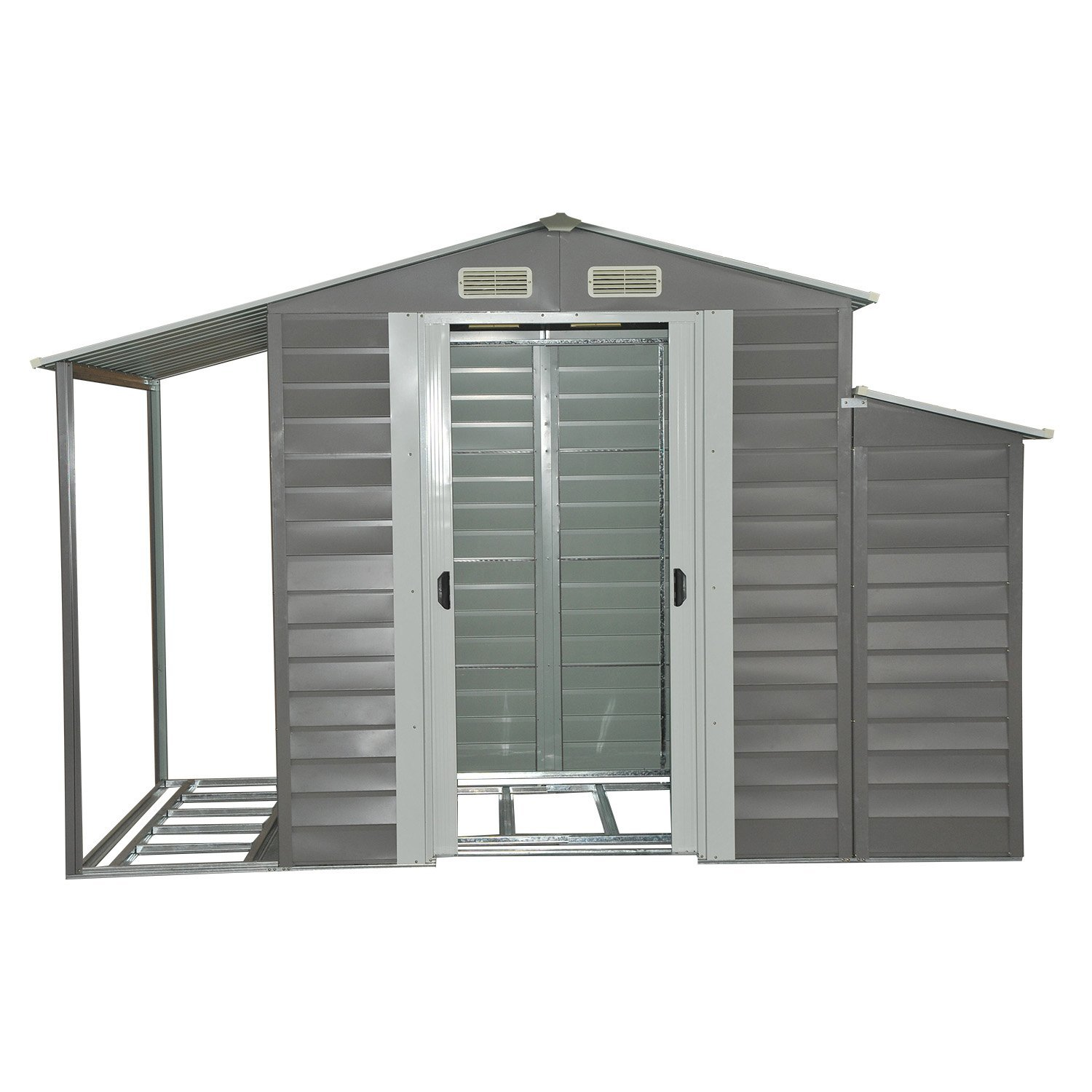 Outsunny 10' x 5' Metal Outdoor Garden Storage Shed with Firewood and Side Storage in Gray/White