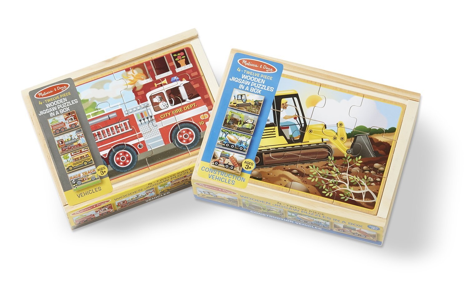 Melissa & Doug Wooden Jigsaw Puzzles Set : Vehicles and Construction