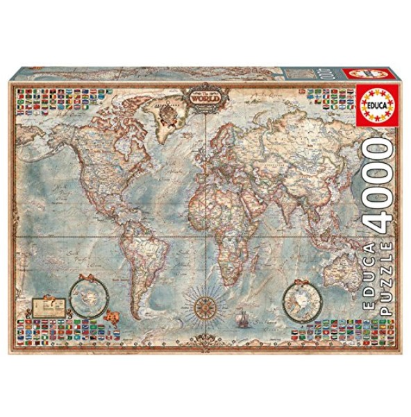 Educa 4000-Piece The World Map with Flags Puzzle