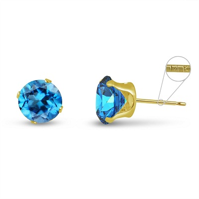 KEZEF 3mm 14K Round Genuine Swiss Blue Topaz Stud Earrings – Available in 3 Metal Types