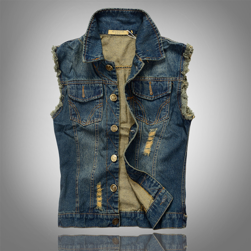 Camo Coll Sleeveless Denim Vest Jacket