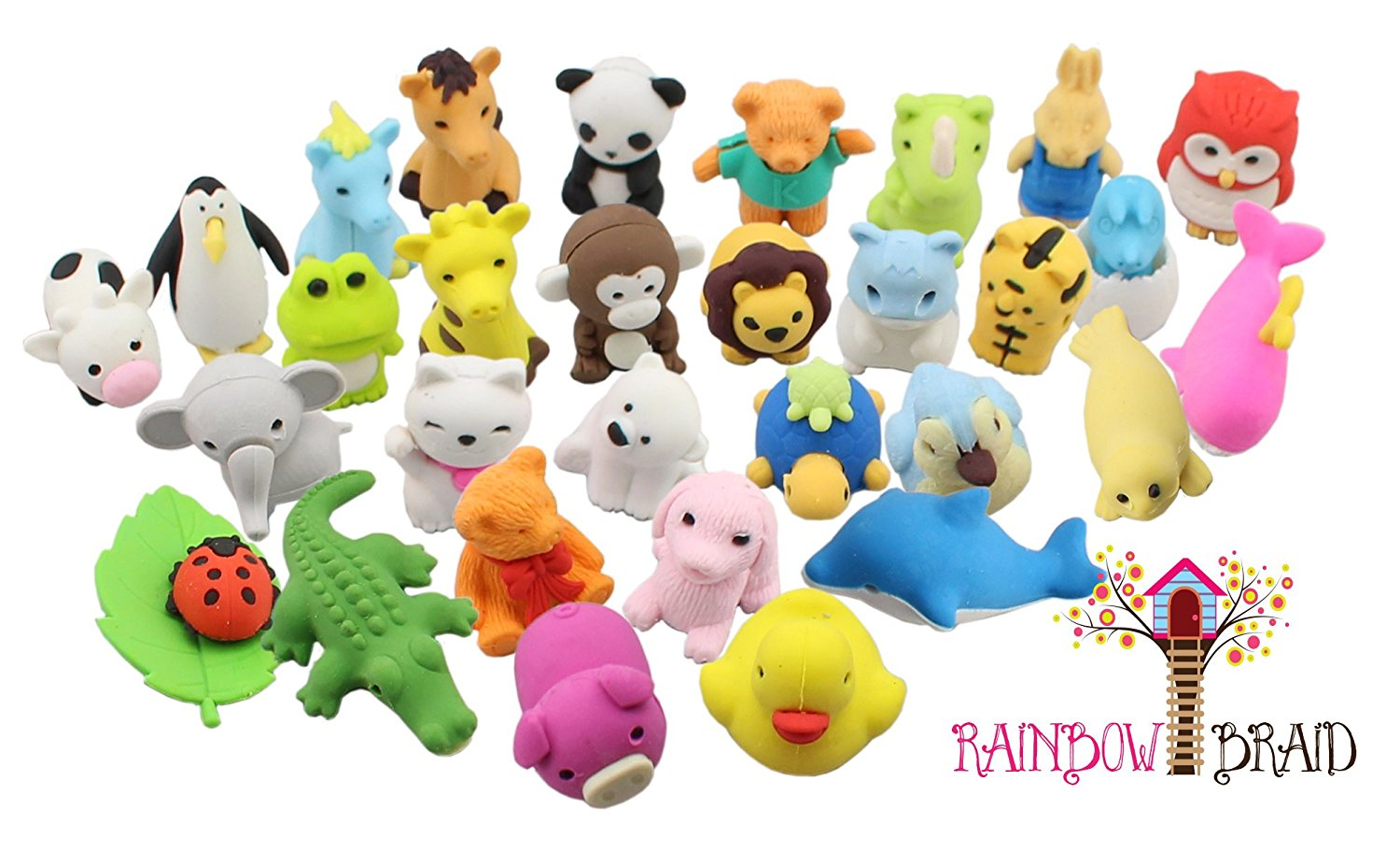 Rainbow Braid Adorable Animal Eraser Set
