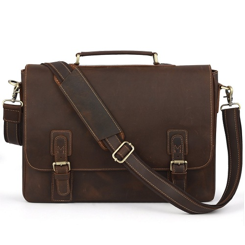 "Kattee Men's Leather 16"" Laptop Messenger Shoulder Bag – Available in Various Sizes"