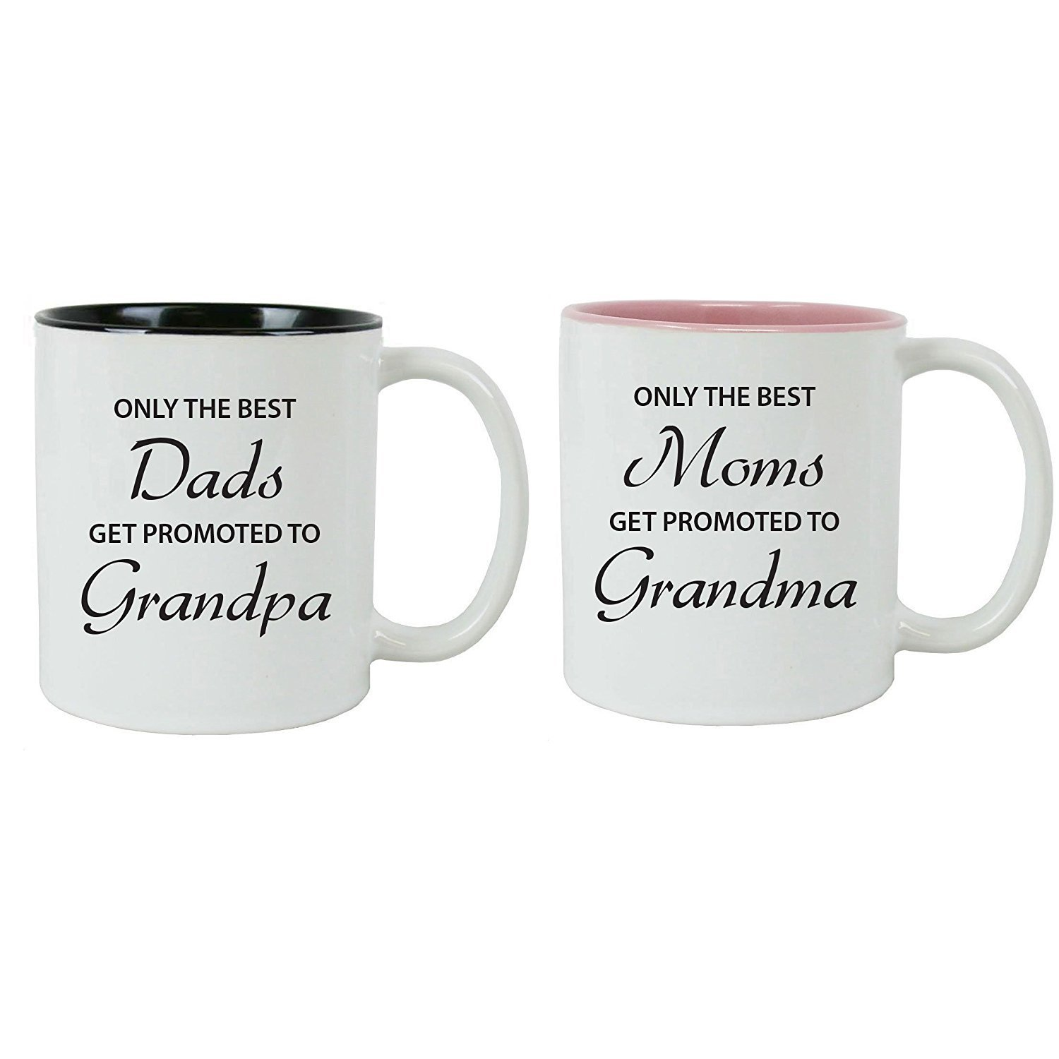 CustomGiftsNow Only the Best Dads/Moms Get Promoted to Grandparents Ceramic Coffee Mugs  Bundle