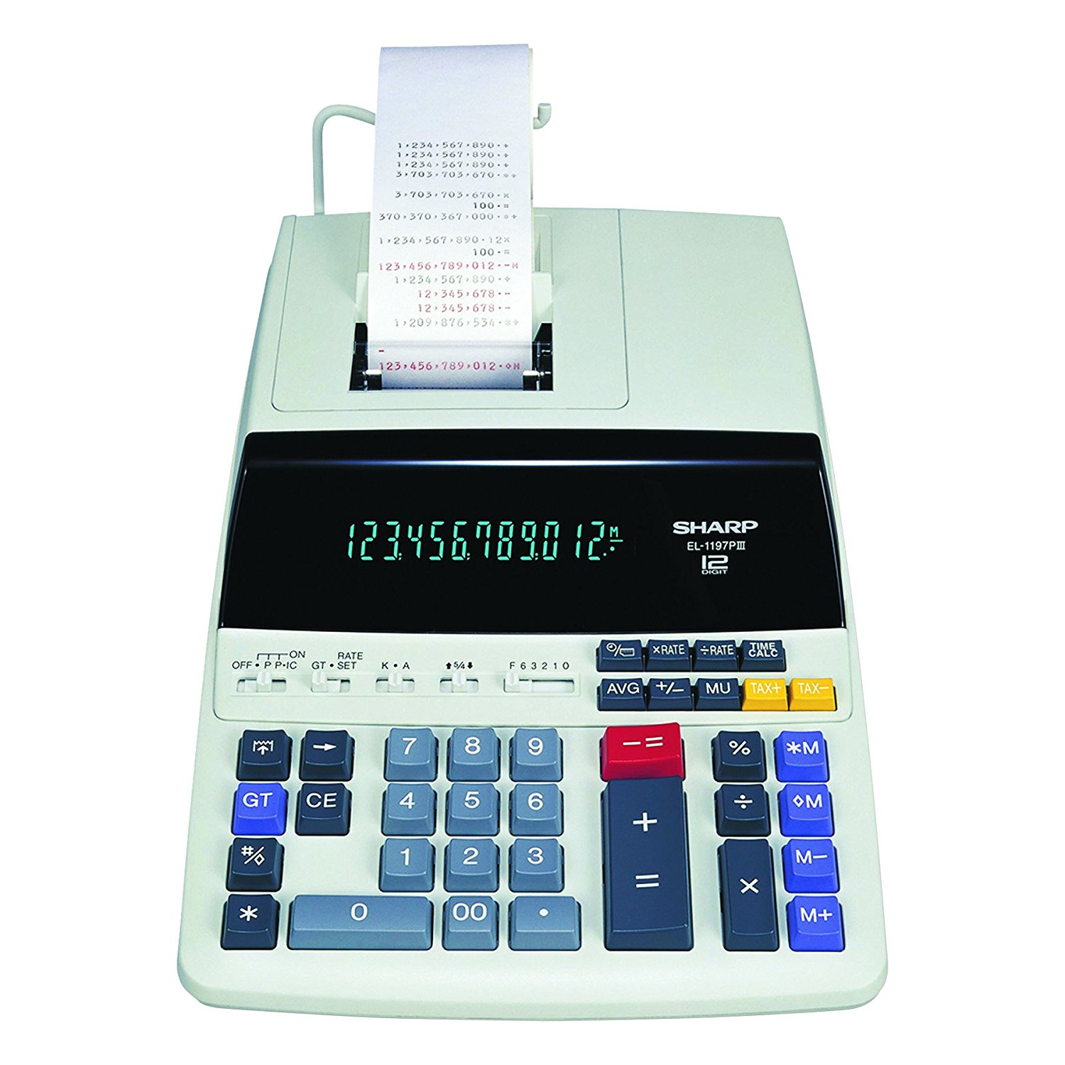 Sharp Heavy Duty Color Printing Calculator with Clock and Calendar - Large Blue Fluorescent Display