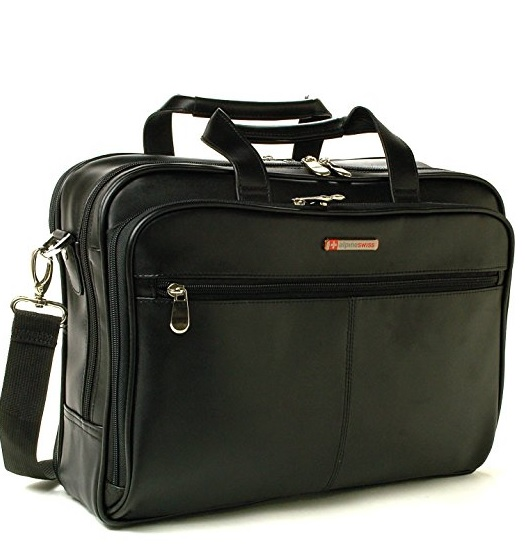 Alpine Swiss Monroe Leather Briefcase