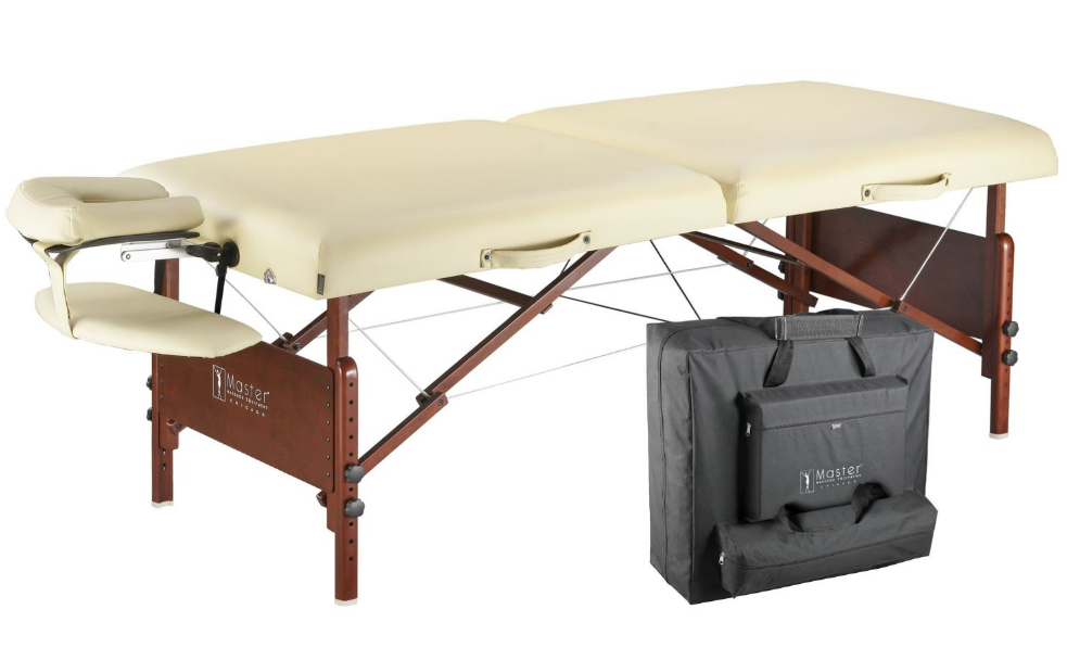 "Master Massage DEL RAY™ 30"" Portable Massage Table – 3"" Foam, Steel Support, 2  Head/Face Cradles, Carrying Case"