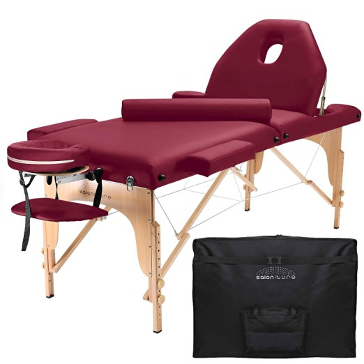 Saloniture Professional Portable Massage Table with Backrest