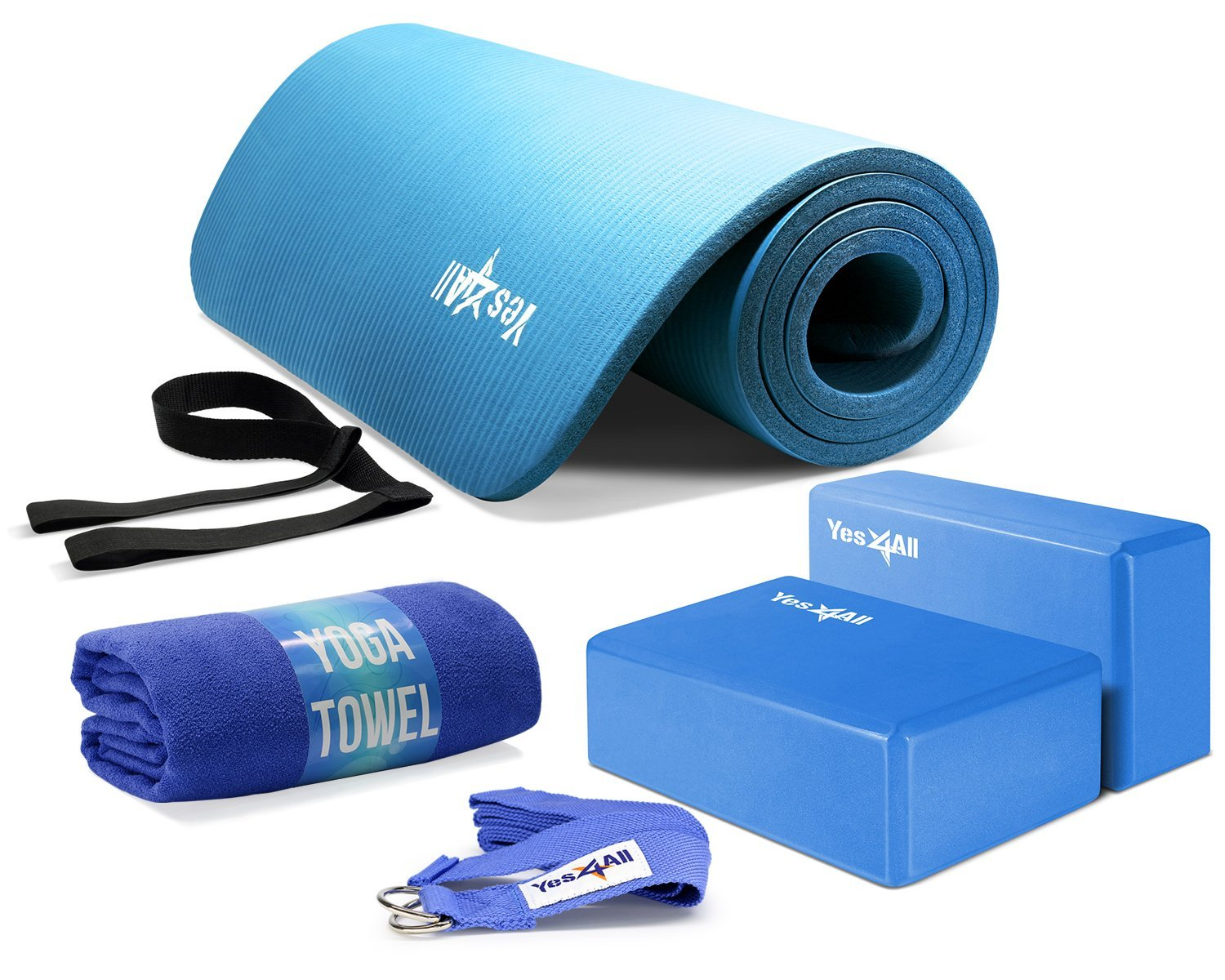 Yes4All Beginner Yoga Set – Variety of Kit Options, Full Set Includes Mat, Blocks, Carrying Strap, Yoga Strap and Towel, 3 Color Choices