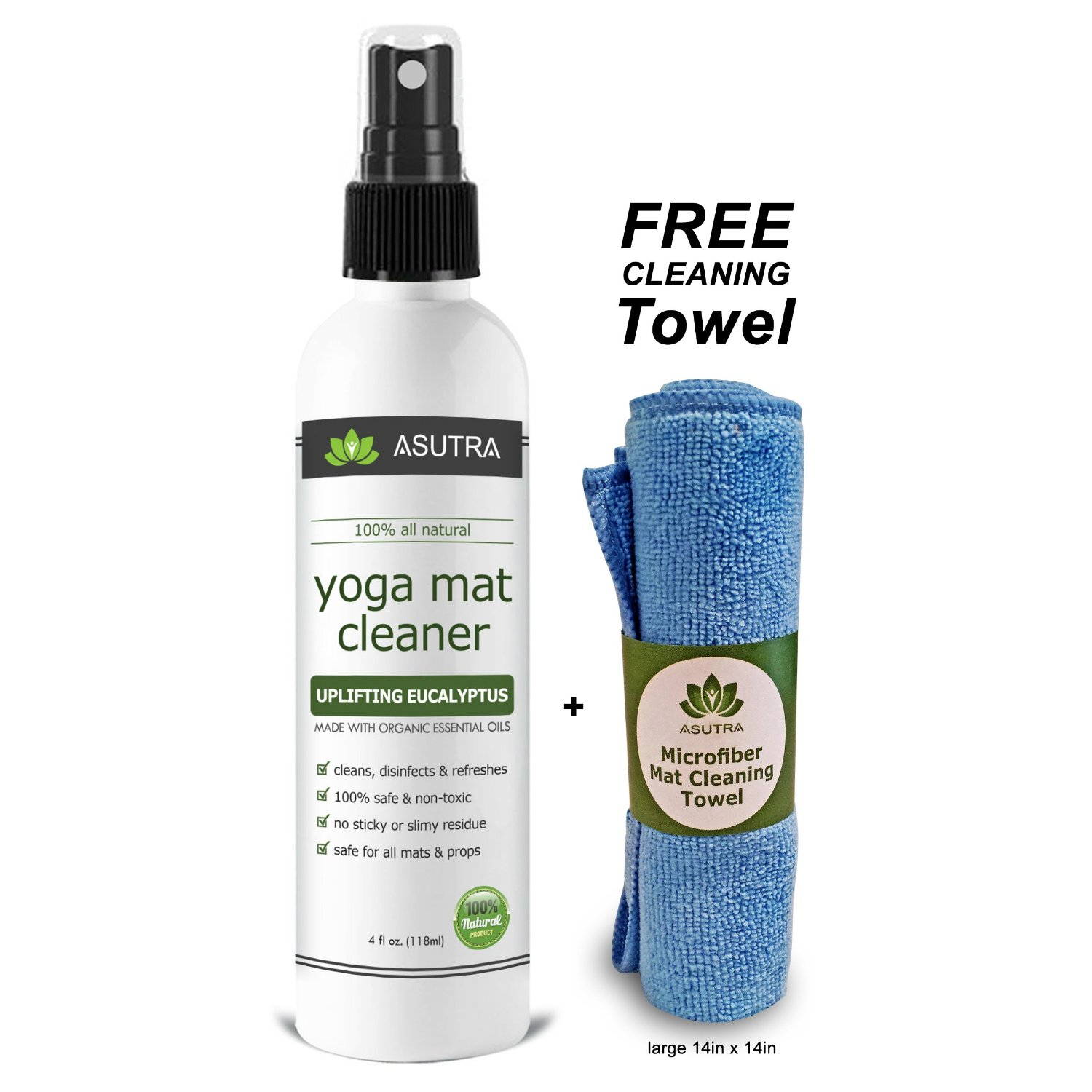 Asutra 100% All Natural Spray Exercise and Yoga Mat Cleaner