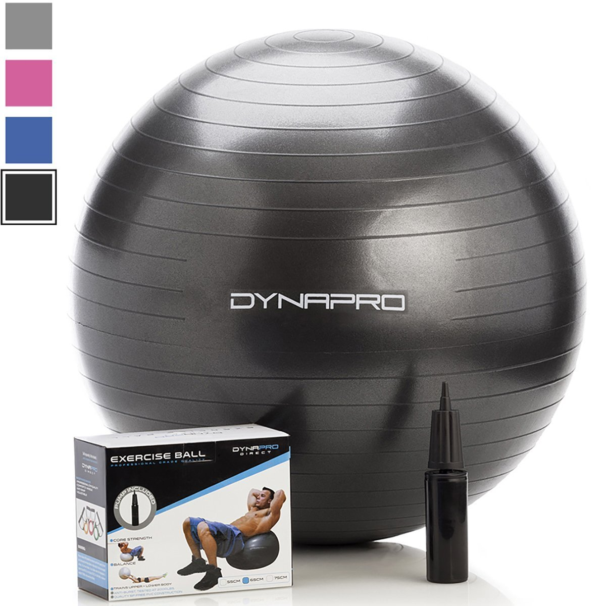 DynaPro Gym Quality Physio Exercise Ball - Perfect for Physical Therapy, Pilates, Yoga, and Personal Training