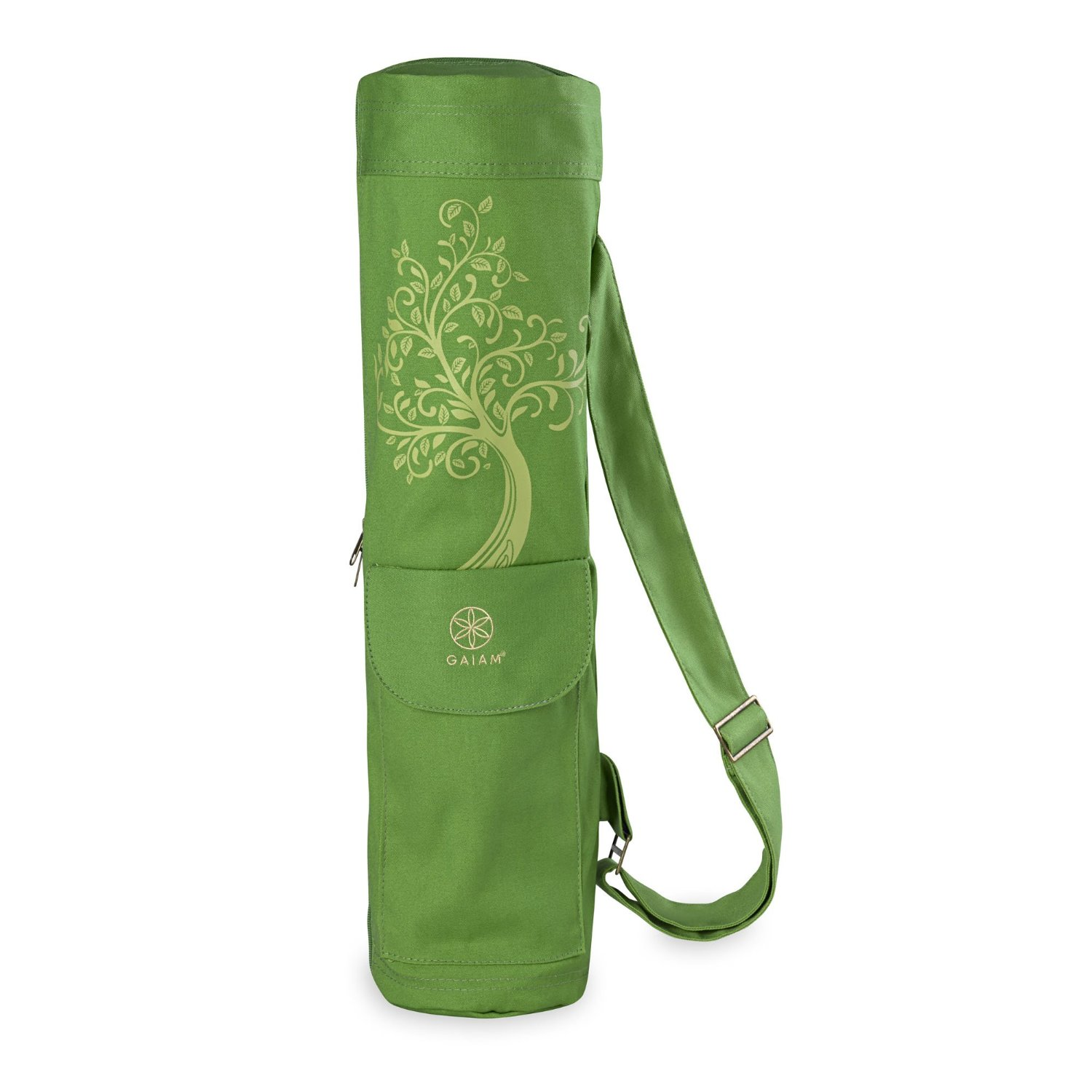 Gaiam Tree of Wisdom Yoga Mat Bag – 2 Pockets, Adjustable Cotton Sling Strap, Multiple Designs and Colors