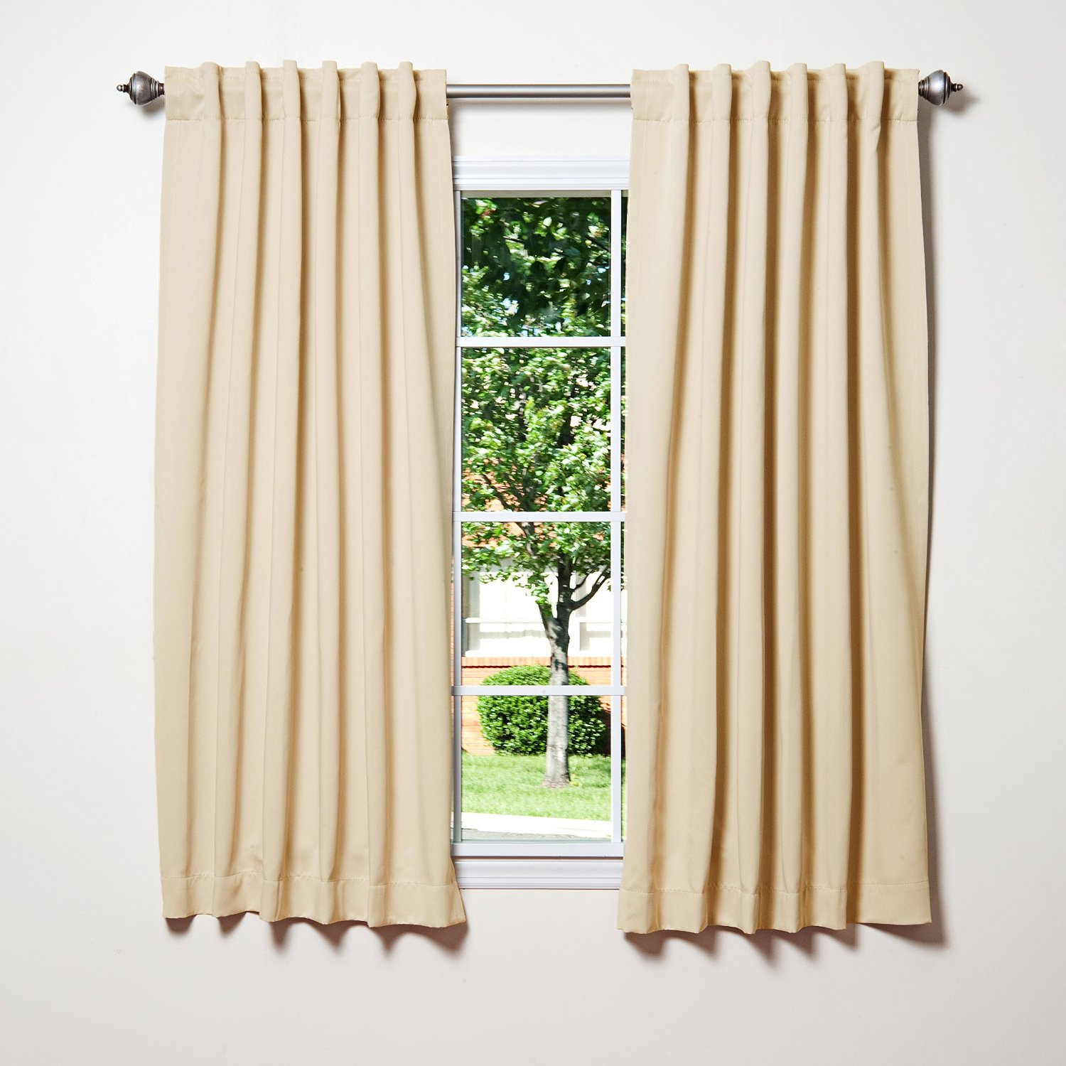 Best Home Fashion Back Tab Thermal Insulated Blackout Curtains – Two Pocket Top Panel Set