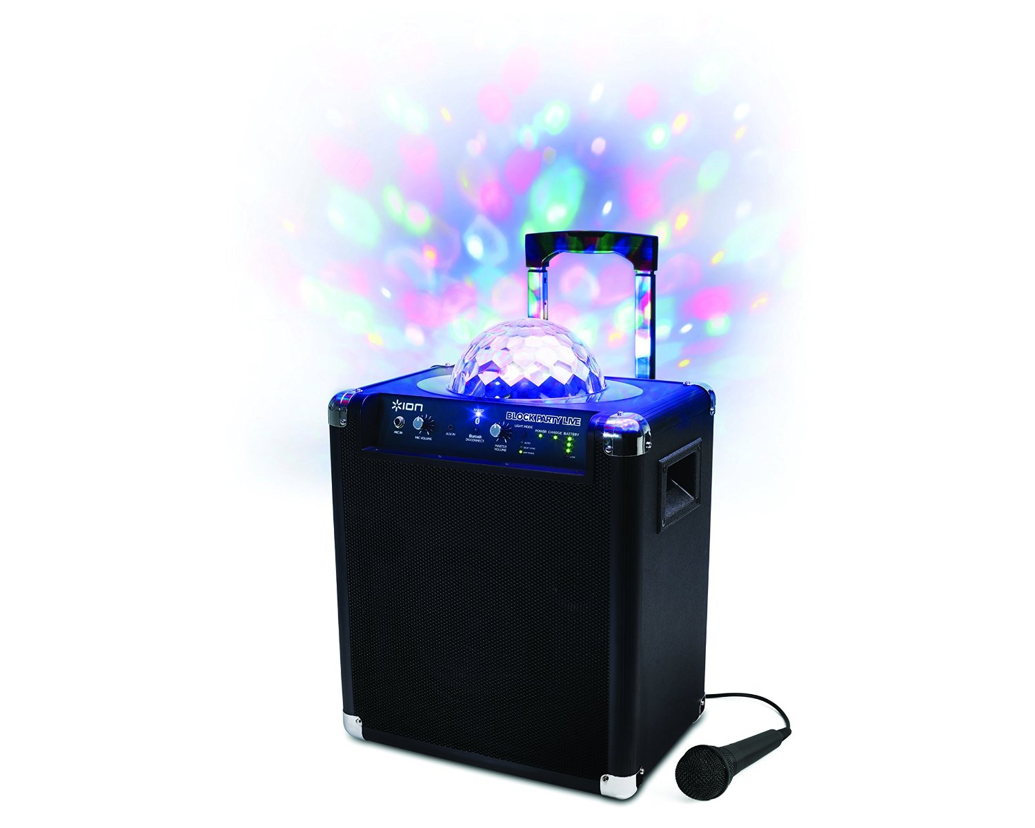 Ion Block Party™ Live Portable Karaoke Speaker System - Party Lights, Bluetooth Enabled, Up to 75 Hours of Music