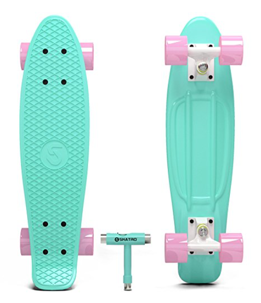 Skatro Mini Cruiser Skateboard, 22 x 6-Inches, Retro Style Plastic Board, Available in Multiple Colors