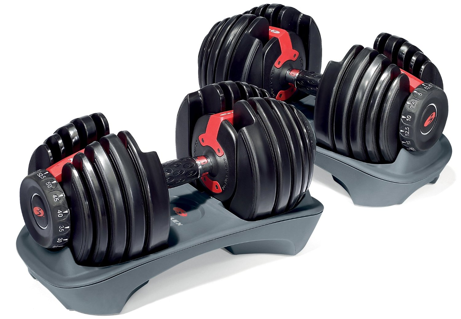 Bowflex SelectTech 552 Customizable Dumbbells - Dial System Eliminates Changing Weight Plates, 15 Weight Settings Adjust from 5 to 52.5 Pounds