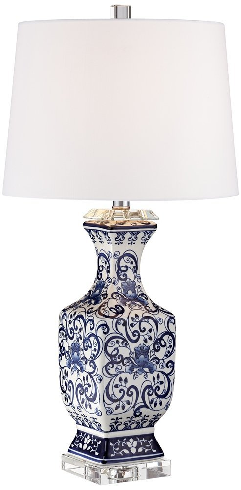 Barnes and Ivy Iris Blue and White Porcelain with Crystal Table Lamp