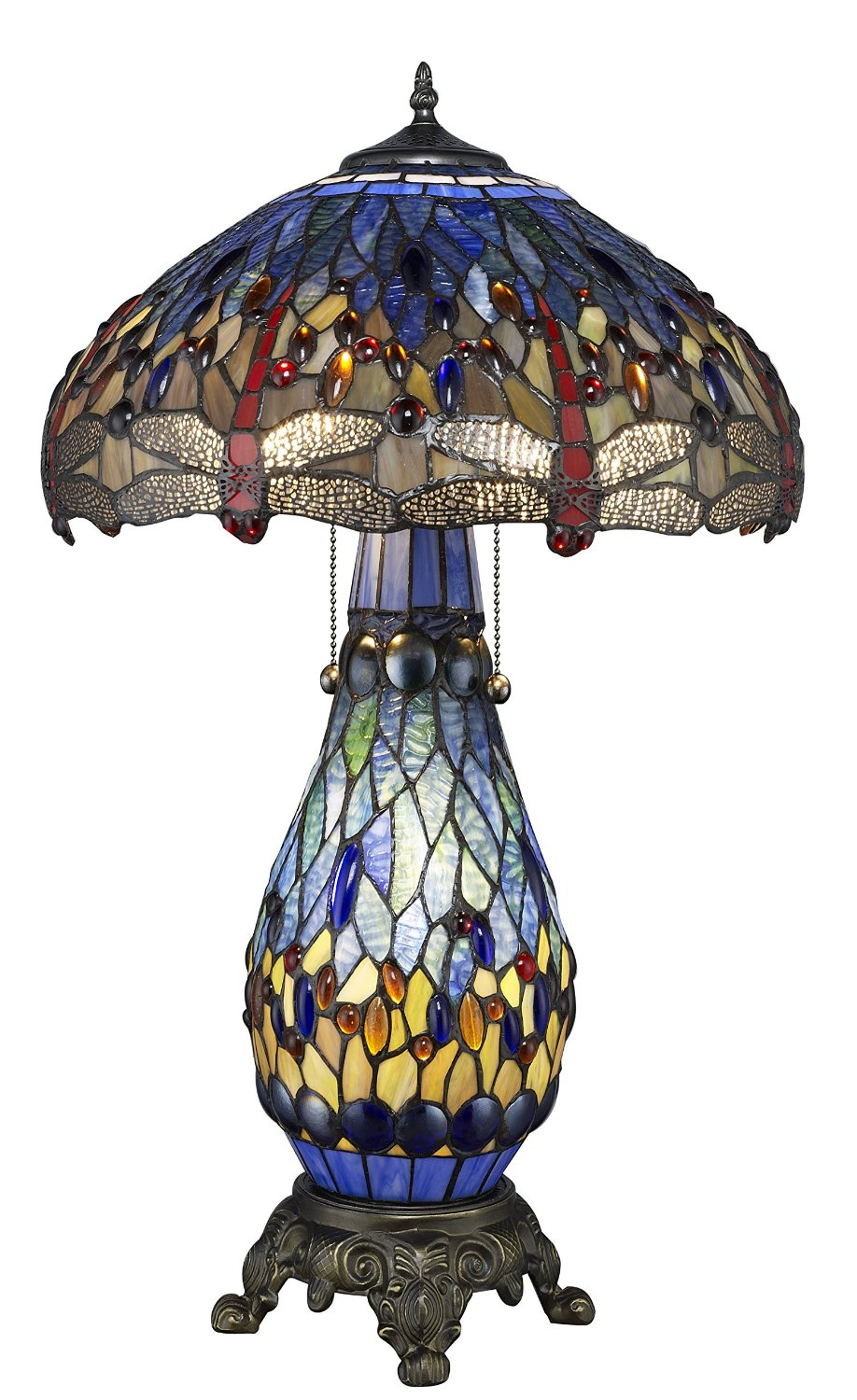 Warehouse of Tiffany's Stained Glass Table Lamp with Lighted Base