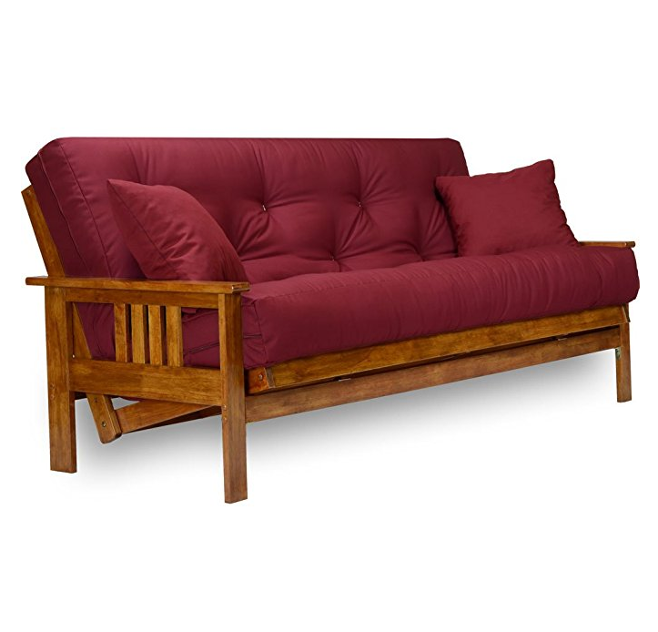 "Nirvana Futons Stanford Wood Futon Frame and 8"" Mattress – Available in Multiple Colors and Sizes"