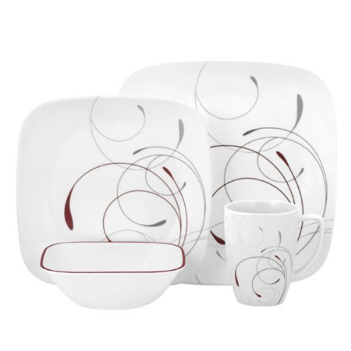 Corelle® Square™ Casual Dinnerware Set  – USA Made, 3-Year Warranty, Wide Selection of Designs